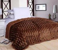 Плед покрывало меховое двухстороннее Норка-Травка  Пушистик на кровать 200х220 (евро), на подарок