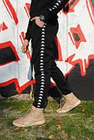 Чёрные спортивные штаны с черными лампасами Kappa | турецкий трикотаж, фото 1