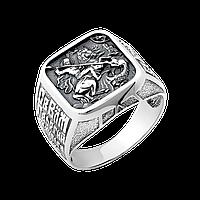 Мужская серебряная печатка Георгий Победоносец квадратная с чернением