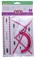 Комплект:линейка 15см+2угольника+транспортир ZiBi KIDS Line (ZB.5687-10)