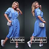Летний юбочный комплект на пуговицах с пышной юбкой из ткани супер софт 3 цвета, р.42,44,48,50,52,54  Код 658Д, фото 3
