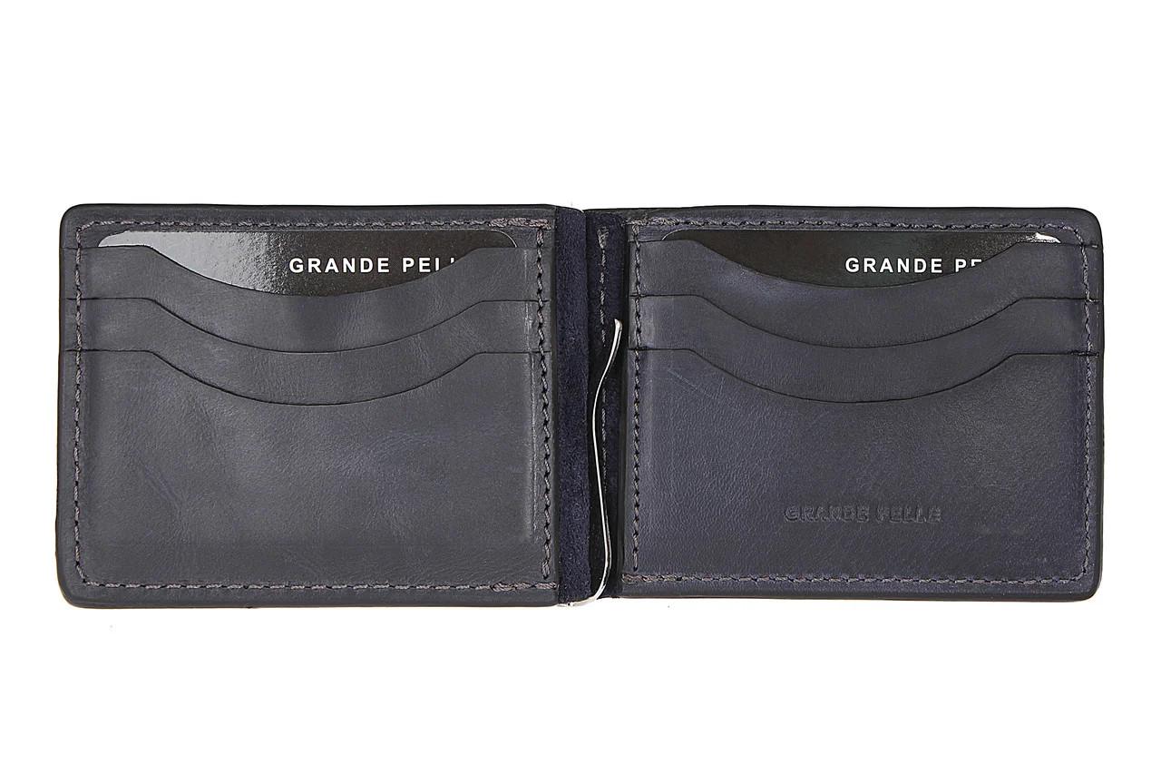 Затискач для купюр шкіряний Grande Pelle 109670 синій глянцевий (14561) Чорний