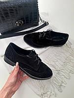 Туфли черные на шнуровке классика из натуральной замши