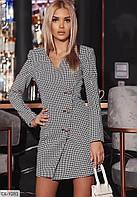 Платье-пиджак в клетку классического кроя, из костюмки с длинным рукавом DL-9281(42-46)