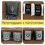 Подушки декоративные с лого автомобиля, подголовники в салон авто, фото 4