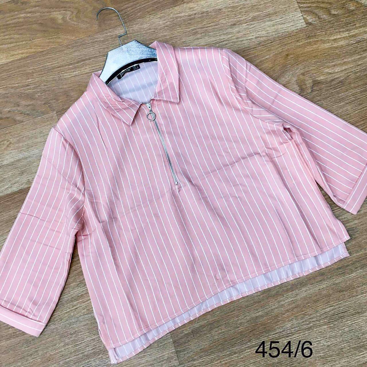 Полосатая блузка-рубашка со змейкой 42-48 (в расцветках)