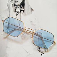 Солнцезащитные многоугольные очки  с цветной линзой Голубой