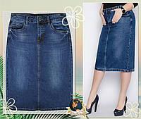 Джинсовая юбка стрейчевая классическая синего цвета 64 см 38 размер