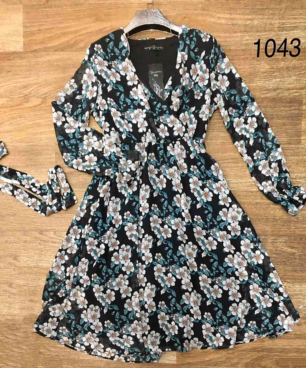 Цветочное воздушное платье из шифона 42-48 (в расцветках)