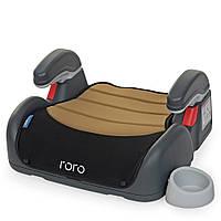 Бустер детский с подлокотником и подстаканником, лен 22-36 кг