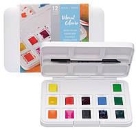 Набор акварельных красок, VAN GOGH, Pocket box VIBRANT COLOURS, 12 кювет+кисточка, пластик, Royal Ta