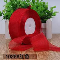 Органза 5 см , цвет красный