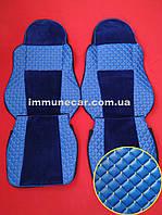 Чехлы экокожа на сидения DAF XF 95 МКП синие