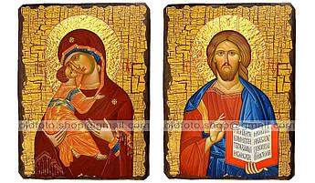Иконы Венчальная пара Владимирская Пресвятая Богородица и Спаситель ,на дереве