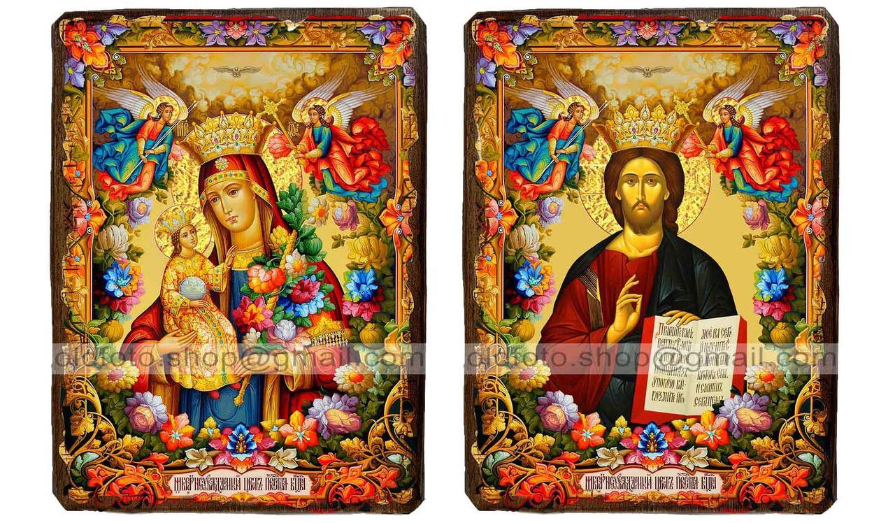 """Иконы Венчальная пара """"Неувядаемый цвет Пресвятая Богородица и Спаситель"""" (130х170мм)"""