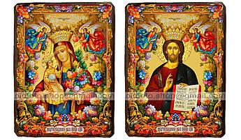 Иконы Венчальная пара Неувядаемый цвет Пресвятая Богородица и Спаситель ,на дереве