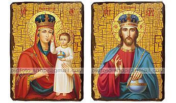 Иконы Венчальная пара Призри на смирение Пресвятая Богородица и Спаситель ,на дереве