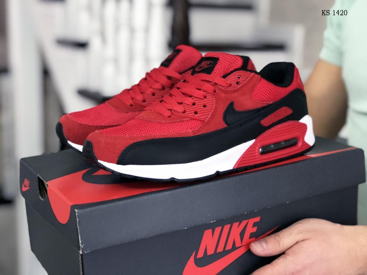 Мужские кроссовки Nike Air Max 90 (черно-красные) KS 1420