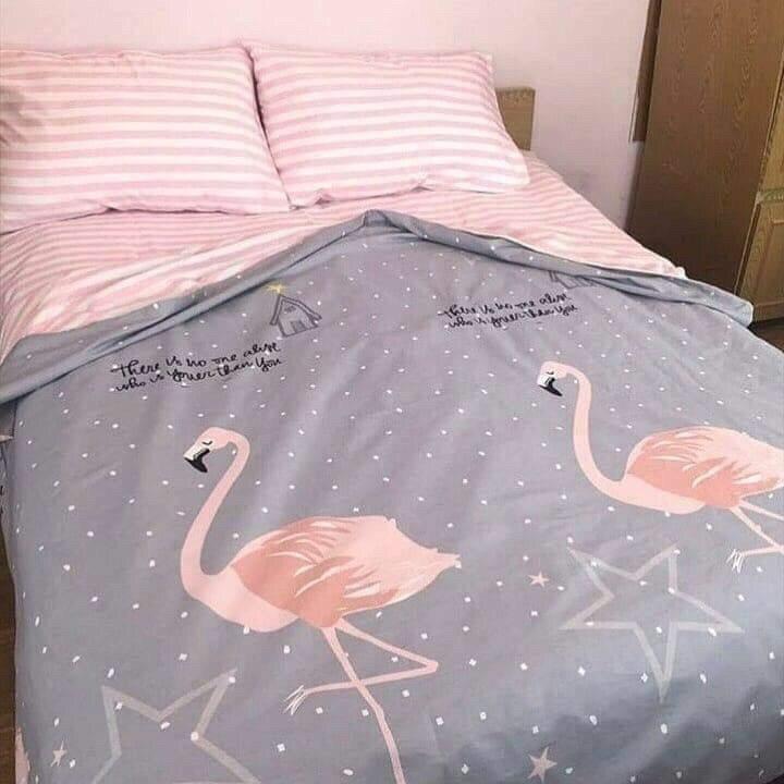 Комплект двуспального постельного белья с фламинго