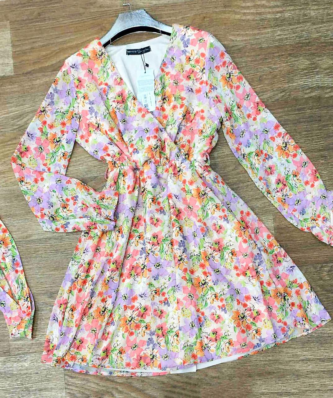 Короткое платье с длинным поясом 42-46 (в расцветках)