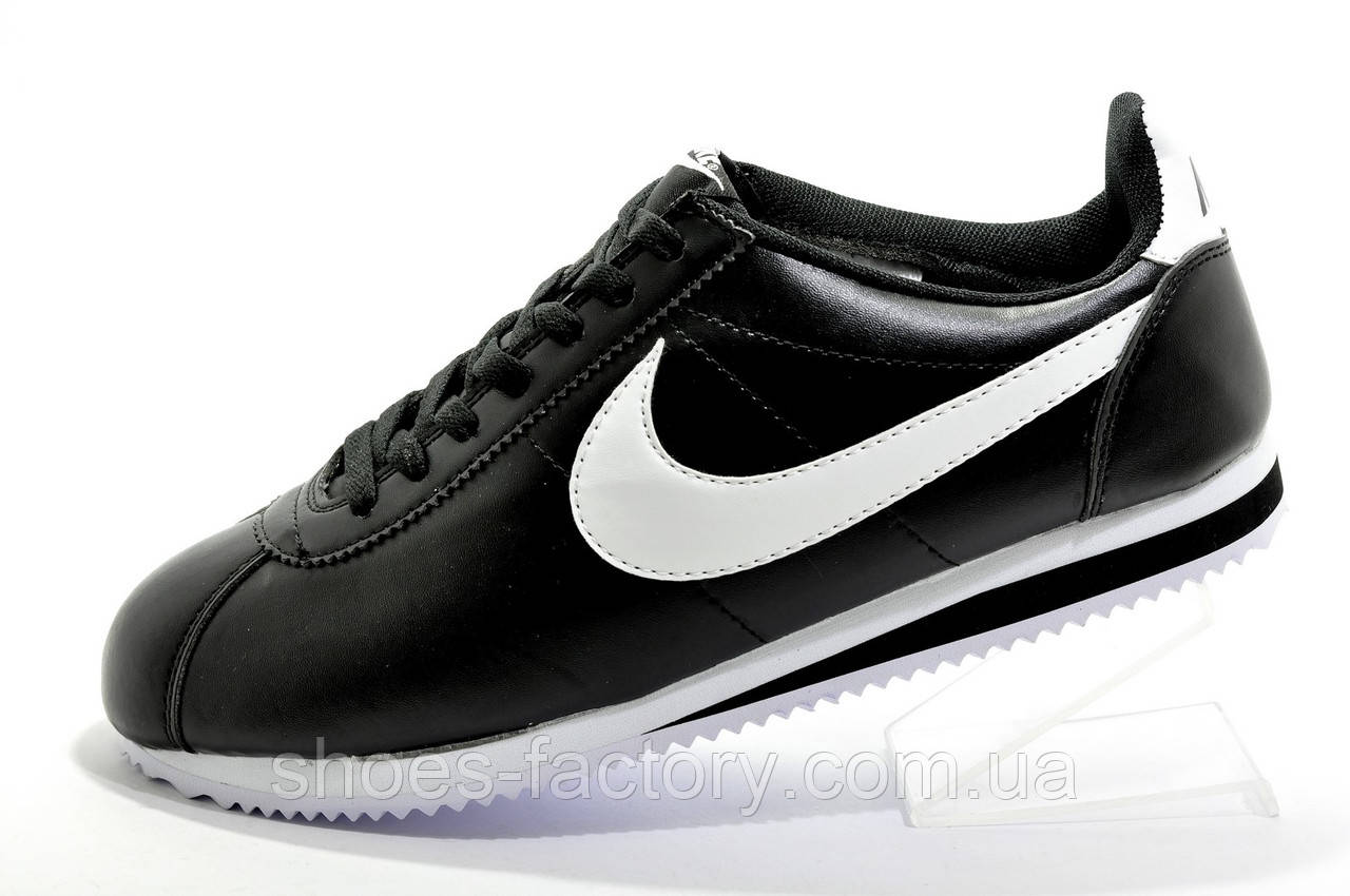 Мужские кроссовки в стиле Nike Cortez, Black\White (Кожа)