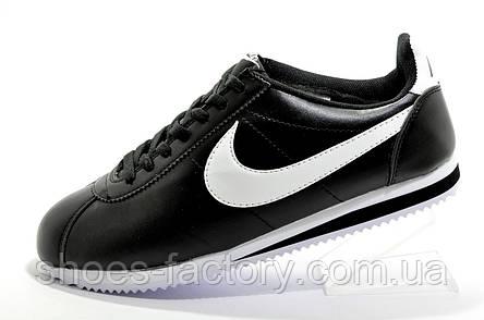 Мужские кроссовки в стиле Nike Cortez, Black\White (Кожа), фото 2