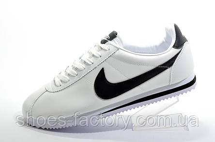 Мужские белые кроссовки в стиле Nike Cortez, White (Кожа), фото 2