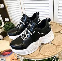 Кожаные молодёжные кроссовки 38,39,40 р чёрный, фото 1