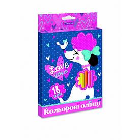 """Олівці 1 Вересня 18 кол. """"Love XOXO"""", пласт. корп."""