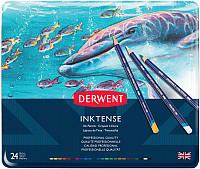 Набор чернильных карандашей Inktense, 24 цв., В металл. коробке, Derwent