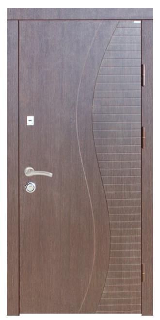 """Входные двери металлические, рис. """"Волна"""" №5, Цвет Венге темный"""