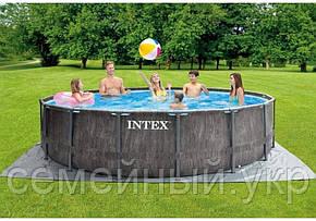 Каркасный бассейн Intex. Диаметр: 457 см. Фильтр-насос. Трехслойный ПВХ. Оцинкованные стальные трубы, фото 2