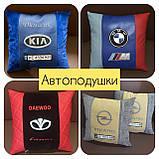 Подушки с логотипом в салон авто, госномером, подушка бабочка на подголовник, автоаксессуары, фото 5