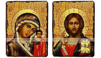 Иконы Венчальная пара Казанская Пресвятая Богородица и Спаситель ,на дереве 400, 300