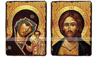 Иконы Венчальная пара Казанская Пресвятая Богородица и Спаситель ,на дереве 230, 170