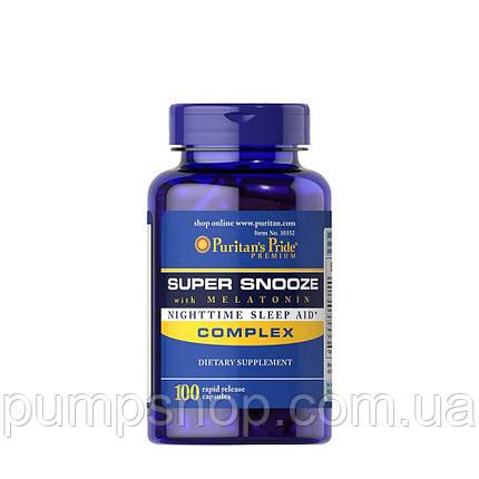 Комплекс для сну + мелатонін Puritan's Pride Super Snooze with Melatonin 100 капс., фото 2