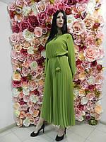 Женский вечерний комбинезон-платье, плиссе, миди, зеленый, нарядный, офисный, на свадьбу, на выпускной