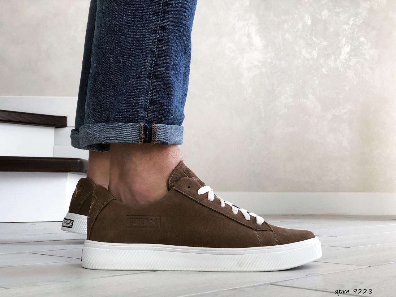 Кожаные кроссовки Puma  (реплика),коричневые