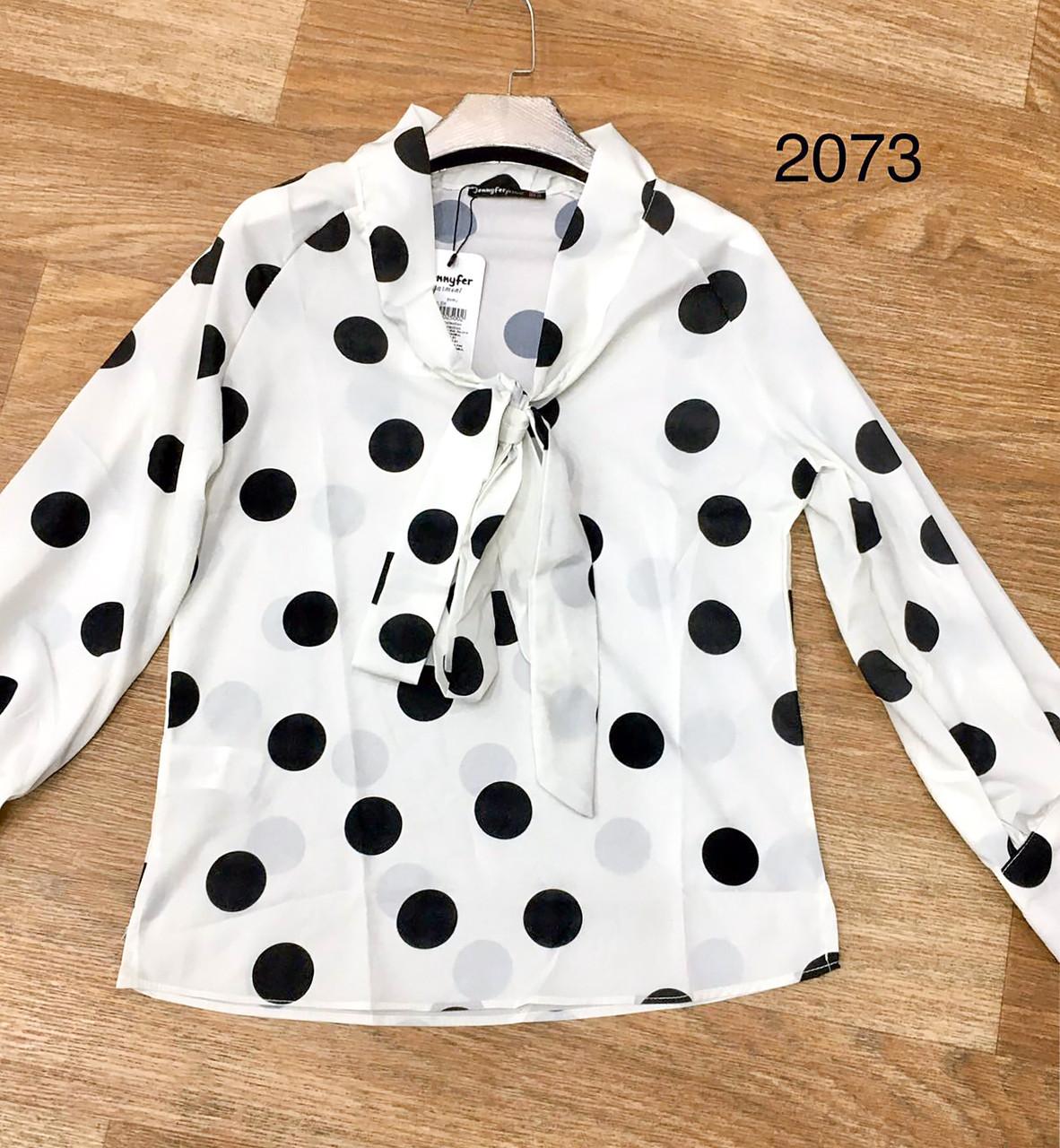 Женская блузка с бантом на горловине 42-48 (в расцветках)