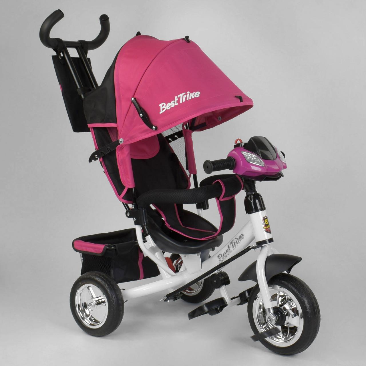 Трехколесный велосипед с фарой Best Trike Розовый велосипед для девочки 1-3 года