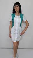 Медицинский женский халат Лика 44 размер хлопок короткий рукав
