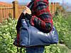 Синяя сумка из мягкой кожи