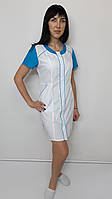 Медичний жіночий халат Ліза бавовна 44 розмір короткий рукав