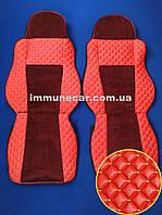 Чехлы экокожа на сидения DAF XF 95 АКП красные