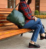 Зеленая большая кожаная сумка, фото 1