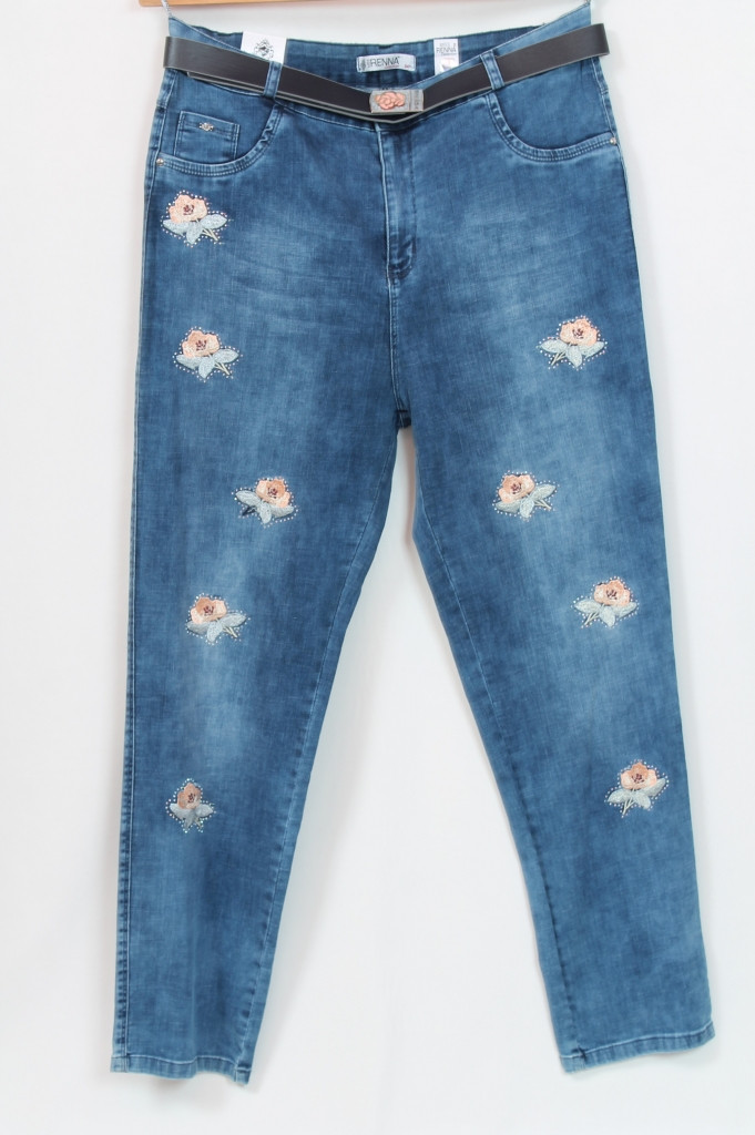 Турецкие женские голубые джинсы с цветами, размеры 48-64