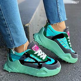 Кроссовки женские зеленые обувной текстиль:)В НАЛИЧИИ ТОЛЬКО 38р