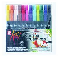 Набор маркеров Koi Coloring Brush Pen, 12цв., Sakura