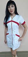 Женский медицинский коттоновый халат на молнии короткий рукав
