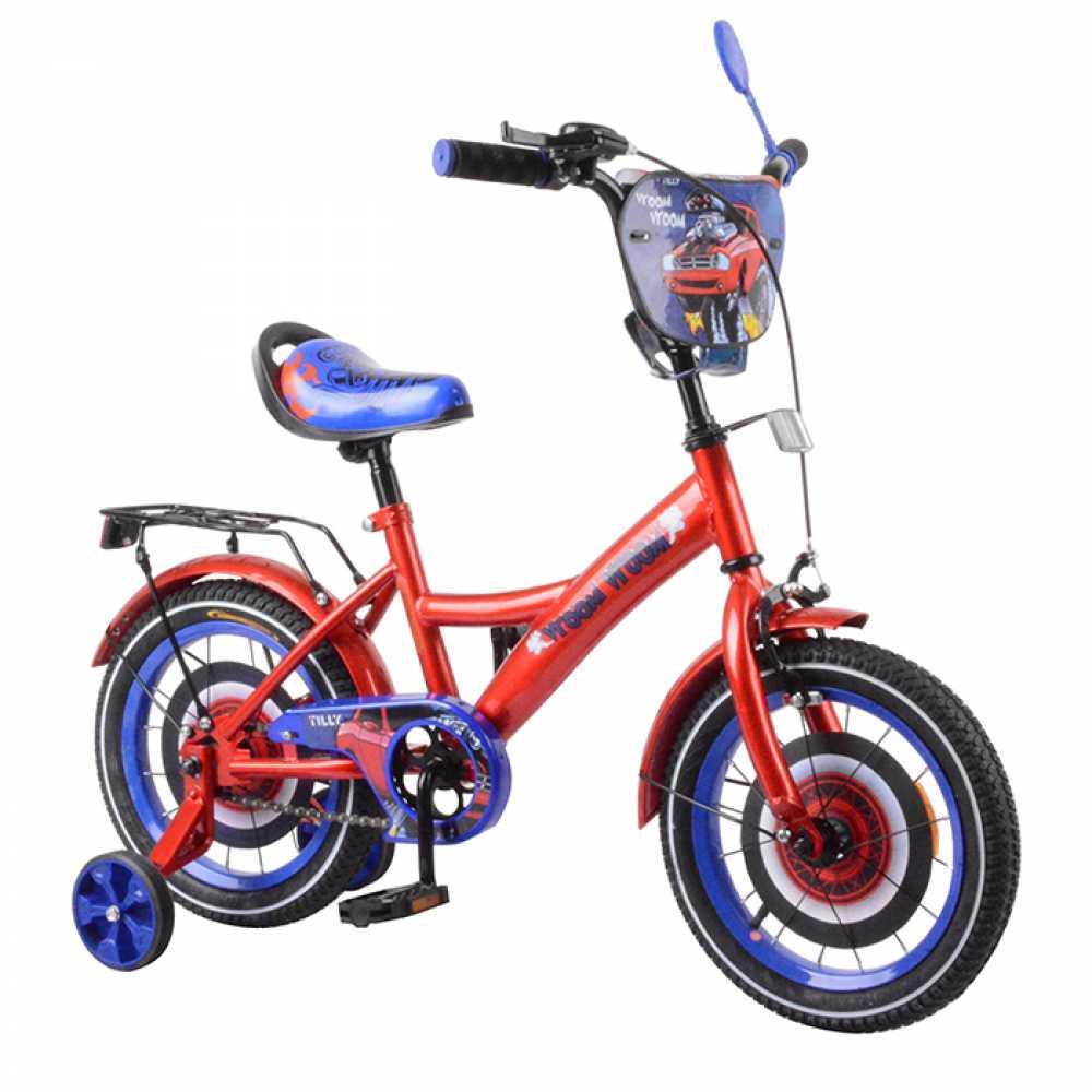 """Детский двухколёсный велосипед 14"""" с дополнительными колесами и ручным тормозом TILLY Vroom T-214212 red+blue"""
